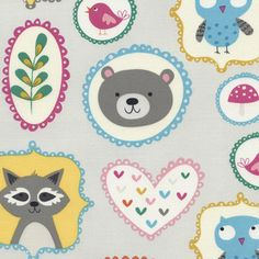 Timeless Treasures House Designer - Happy Campers - Woodland Portraits in Grey