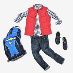 """Our everyday """"go-to"""" look for school. With reinforced Iron Knee Jeans and classic woven button down shirt, this boy is ready for any adventure! Topped with a down vest to keep him warm, the look has just a touch of prep. From Lands' End #firstdayfaves #ad"""