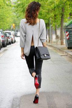 Massimo Dutti Grey Women's Open Back Button Up Sweater