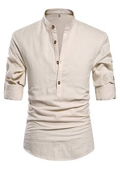 24434df99ac5 ZYFMAILY Men s Casual Long Sleeve Linen Henley T-Shirt Solid Beach Shirt