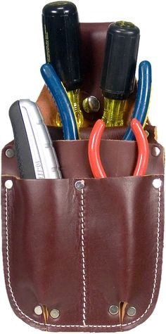 "Occidental Leathers 5057 Pocket Caddy is a compact 4 pocket tool organizer that fits in your pocket protecting you, your tools, and your clothes. Ideal for small repair work, shop workers, gardeners, farm repair, and cabinetmakers. Create an instant mini tool carrier, organizing pliers, screwdrivers, and other tools while keeping them within easy reach. Handy snap loop hooks around up to a 2"" belt, if desired."
