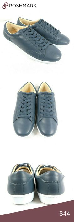Nine West Rukkus Navy Leather Sneakers Thanks for checking out my closet. I take all my own pics. The shoes are authentic and new in box. Shoes have leather upper. Nine West Shoes Sneakers