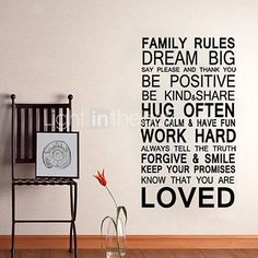 JiuBai™ Family Rule Quote Home Decoration Wall Sticker Wall Decal - GBP £ 17.73