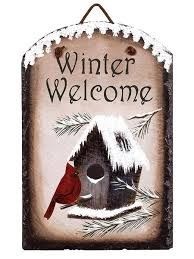 """Cardinal Winter Welcome Slate. Real painted slate rock features a brilliantly colored red cardinal hanging out at his winter birdhouse home. """"Winter Welcome! Gold Christmas Decorations, Christmas Wood, Christmas Signs, Christmas Crafts, Primitive Christmas, Painted Slate, Painted Rocks, Painted Signs, Tole Painting"""