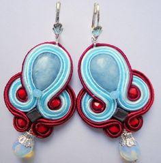 Soutache Earrings Blue Marsala por SoutacheLand en Etsy