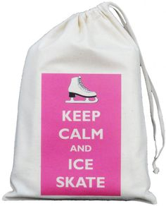KEEP CALM AND ICE SKATE - SMALL NATURAL COTTON DRAWSTRING BAG -Skater Skating KEEP CALM AND ICE SKATE Small Natural Cotton Drawstring Bag Designed