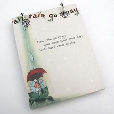 Refillable Recycled Notepad Large Rain Rain Go by RagAndBoneDesign, $11.00