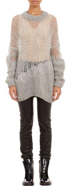 M M Margiela oversize mixed-stitch sweater Knitwear Fashion, Knit Fashion, Knitting Designs, Knit Dress, Hand Knitting, Divas, Knitting Patterns, Knit Crochet, Couture