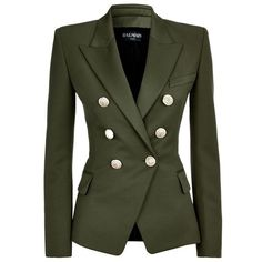Balmain Wool Double-Breasted Jacket (£1,280) ❤ liked on Polyvore featuring outerwear, jackets, blazers, coats, balmain, balmain jacket, green blazer, khaki jacket and double breasted jacket