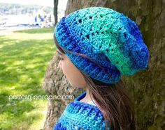 Free crochet pattern for hat #beanie #slouchy in child and adult sizes by Pattern-Paradise.com #crochet #freepattern #patternparadisecrochet #hat