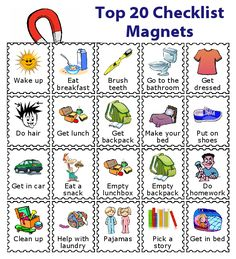 20 Printed Magnets for Kids - 20 Morning Routine magnets to use with The Trip Clip Magnet Bundle. You can buy them pre-printed, o - After School Checklist, Kids Checklist, Daily Checklist, Kinder Routine-chart, Kids And Parenting, Parenting Hacks, Toddler Routine Chart, Daily Routine Chart For Kids, Chore Chart Kids