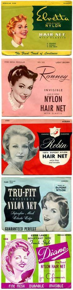 Vintage hair nets, oh my!...... Note they all state they are made of DuPont nylon!