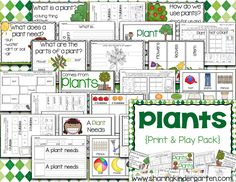 Plants {Print & Play Pack} by Sharing Kindergarten Printable and Playable activities all about PLANTS.