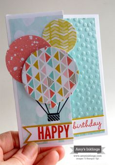 """Celebrate Today stamp set, Best Year Ever dsp, Basic Black & Calypso Coral ink, Pool Party, Whisper White & Crushed Curry cs, Balloon dies, 1-3/8"""" & 2"""" circle punches, dots emb. folder"""