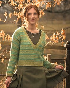 Drop-sleeve v-neck striped sweater knitting pattern. Howclose Gill by Francesca Hughes knit in The Fibre Co. Knightsbridge