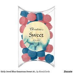 Girly Jewel Blue Gemstone Sweet 16 Party Chewing Gum Favors
