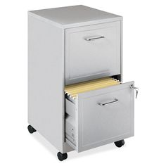 Lorell 2-Drawer Locking Sturdy Mobile File Cabinet with Wheels
