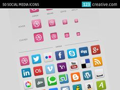 50 Social Media Icons (PNG, PSD, normal, hover, clicked square social icons) - Download here: http://www.123creative.com/web-elements-website-buttons-and-icons/699-50-social-media-icons.html (website social icons, social network icons, website icon set)