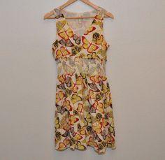 Woman's Fossil Silk floral butterfly print Summer Beach dress size small #Voll #WeartoWork