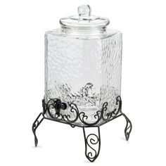 Acopa 5 Gallon Hammered Glass Beverage Dispenser with Metal Stand and Chalkboard Sign Glass Beverage Dispenser, Thanksgiving Traditions, Kitchen Items, Kitchen Goods, Chalkboard Signs, Glass Collection, Cool Kitchens, Beverages, Drinks