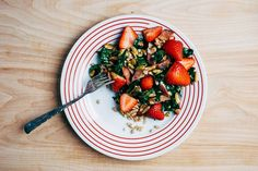 Farro, Kale, and Strawberry Salad with Bacon and Chili-Dusted Pepitas recipe on Food52