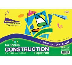 "Bazic Mini Construction Paper Pad, 6 x 9 Inches, 64 Sheets (Case of 48) by Bazic. $16.56. BAZIC 64 Ct. 6"" X 9"" Mini Construction Paper Pad. Save 75%!"
