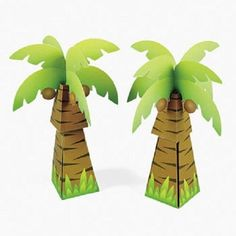 12 Cardboard Palm Tree Favor Treat Boxes by jenuinecraftsandmore