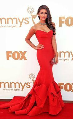 red celebrity dress