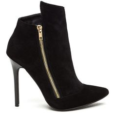 Do Zip Faux Suede Booties BLACK ($38) ❤ liked on Polyvore featuring shoes, boots, ankle booties, ankle boots, black, high heel boots, black high heel booties, black bootie, high heels stilettos and faux-suede boots