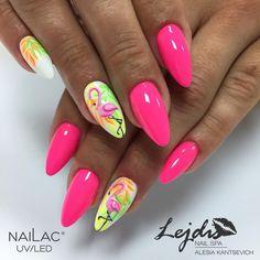 """Nailac #218 """"#nailac#nailsart#pink#flamingo"""""""