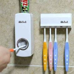 Gloriously Simple Things That'll Save You So Much Money This automatic toothpaste dispenser.This automatic toothpaste dispenser. New Gadgets, Gadgets And Gizmos, Fitness Gadgets, Electronics Gadgets, Nouveaux Gadgets, Lampe Retro, Toothpaste Squeezer, Cool Inventions, Mo S