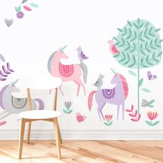 Unicorn Kit is a set of Mej Mej fabric wall decals from the Enchanted kids decor collection. Playroom Mural, Kids Wall Murals, Murals For Kids, Childrens Wall Murals, Girls Bedroom Mural, Bedroom Murals, Bedroom Ideas, Unicorn Wall Decal, Wall Decals
