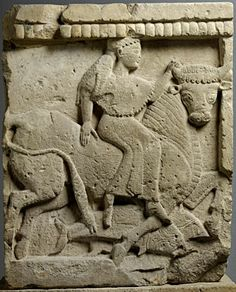 """Metopa raffigurante il ratto di Europa Tempio Y - Tempio """"delle piccole metope"""" Metà VI sec. a.C. Selinunte"""
