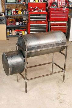 Build A Backyard Smoker: Pictures, Diagrams and Video  - PopularMechanics.com Metal Projects, Welding Projects, Outdoor Projects, Outdoor Decor, Diy Welding, Metal Welding, Welding Tools, Diy Tools, Diy Projects