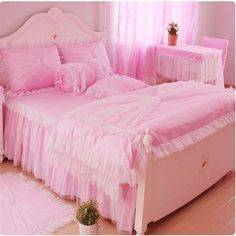 Cheap bedding king, Buy Quality bedding for king size bed directly from China bedding themes Suppliers:    Romantic Flower Lace bedspread princess bedding set queen king size 4pcs Jacquard comforter/duvet cover bed skirts be