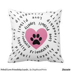 Pitbull Love Friendship Loyalty Swirl Pillows