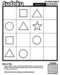 Sudoku printable Logic and Reasoning skills Preschool Puzzles, Sudoku Puzzles, Puzzles For Kids, Preschool Worksheets, Hidden Picture Puzzles, Maze Worksheet, Math Patterns, Math Challenge, Learning Shapes