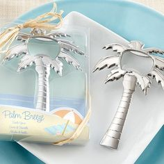 """Palm Breeze"" Chrome Palm Tree Bottle Opener at Elegant Gift Gallery. We're your number one source for beach wedding favors and bottle opener favors! Wedding Favors And Gifts, Wedding Favours Bottles, Summer Wedding Favors, Bridal Shower Favors, Wedding Ideas, Wedding Songs, Wine Favors, Nautical Wedding Favors, Wedding Tokens"