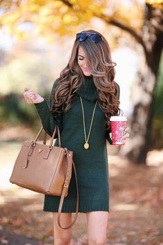 turtleneck sweater dress + neutral accessories