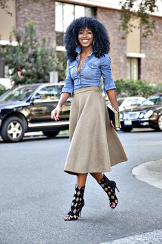 Fitted Denim Shirt + Quilted Midi Skirt / Style Pantry