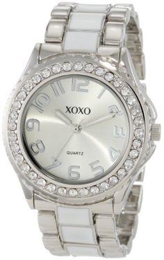 XOXO Women's XO5410  Silver-tone/White Epoxy Bracelet With Rhinestones Accent Watch for $19.99