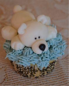 Polar bear cupcake Bear Cupcakes, Teddy Bear Cakes, Polar Bear, Polar Bears