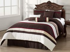 Set Includes: Queen Comforter 90 x Bed Skirt 60 x 80 + Pillow Shams 20 x 26 + Neck Roll 7 x Bolster 12 x Decorative Square pillow 18 x C Queen Bed Comforters, Bed Comforter Sets, Queen Comforter Sets, Striped Bedding, White Bedding, Brown Bedding, Queen Size Bed Sets, King Size, Water Bed