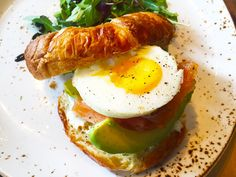 I want what she is having! When crazy egg lover can't contain the excitement for Smoked Salmon Croissant at brunch from Lupo Verde, a modern Italian restaurant on U Street. You know how much we love our eggs, EGGGSSSSSSS!!