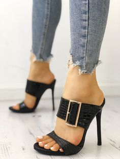 Shop Solid Snakeskin Buckled Thin Heeled Sandals – Discover sexy women fashion at Boutiquefeel Pumps Heels, Stiletto Heels, High Heels, Heeled Sandals, Shoes Sandals, Mules Shoes, Stilettos, Black Heels, Hot Shoes