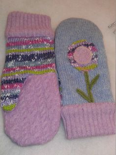 Recycled Repurposed Upcycled Wool and Cotton Sweater Mittens