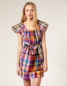 French Connection Bright Check Smock Dress