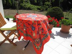 Red Small Square Tablecloth Floral Tile Print Ottoman Picnic Park Beach Camp…