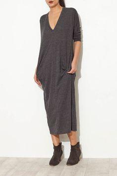Charcoal V Neck Dress