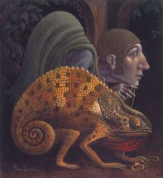 Chameleon with His Pet Hunchback